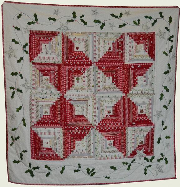 Log Cabin Christmas Quilt.Red White Christmas Log Cabin Quilt Kit Jo Colwill
